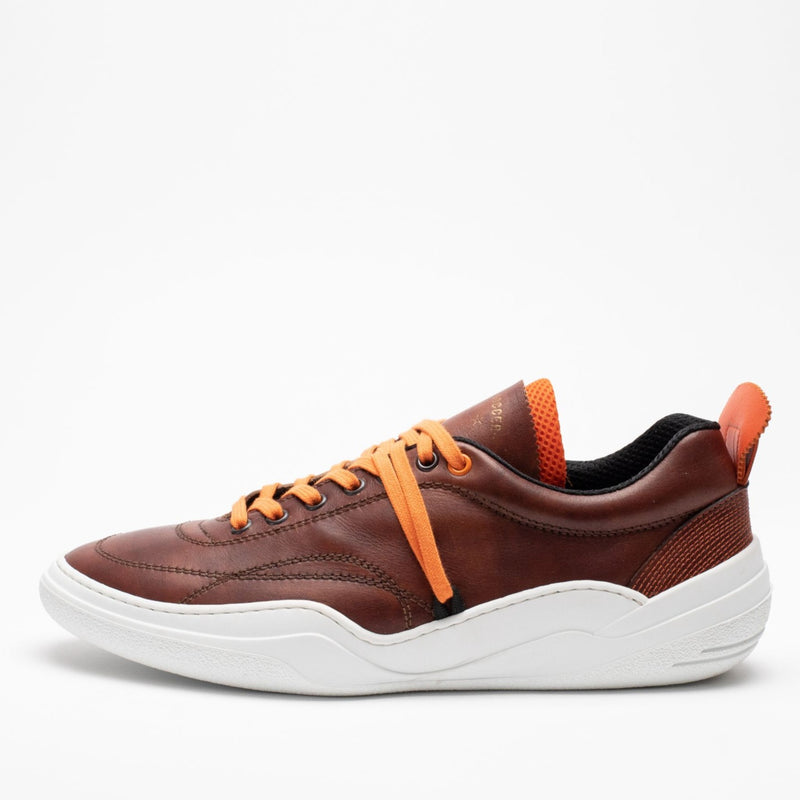 Side profile of men's leather trainers in brown, orange and white