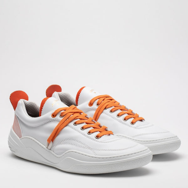 Pair of men's leather trainers in orange and white