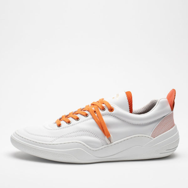 Side profile of men's leather trainers in orange and white