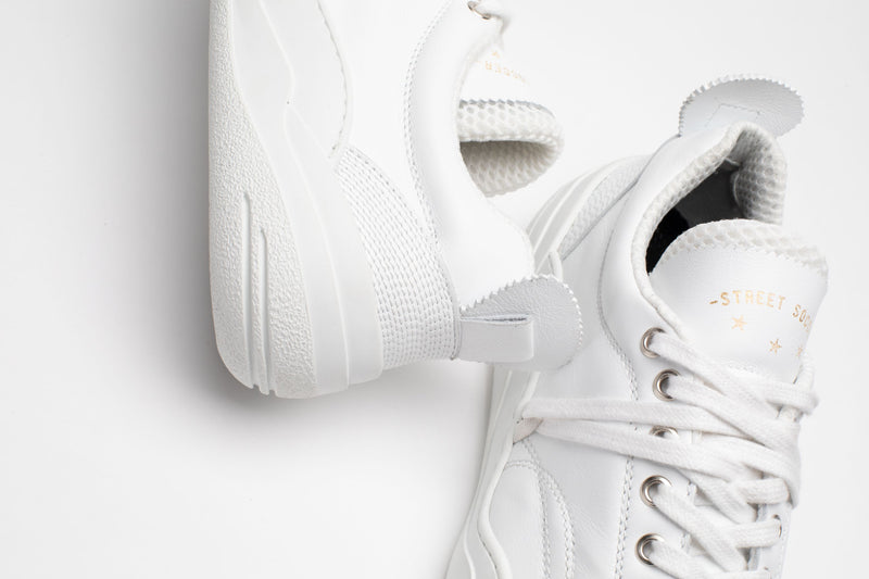 Close up of men's leather trainers in all-white