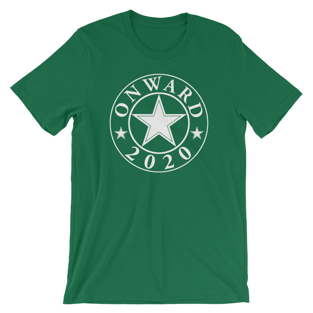 Onward2020 Simple Design in White on a Green T Shirt