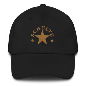 Schultz Star Design in GOLD on a Black Dad Hat