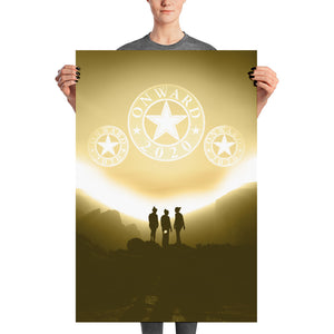 Howard Schultz Onward 2020 Rising Gold Themed High Quality Poster Print Featuring Three people (girls) gazing into the distance as 3 Onward 2020 Discs float above them or on the horizon