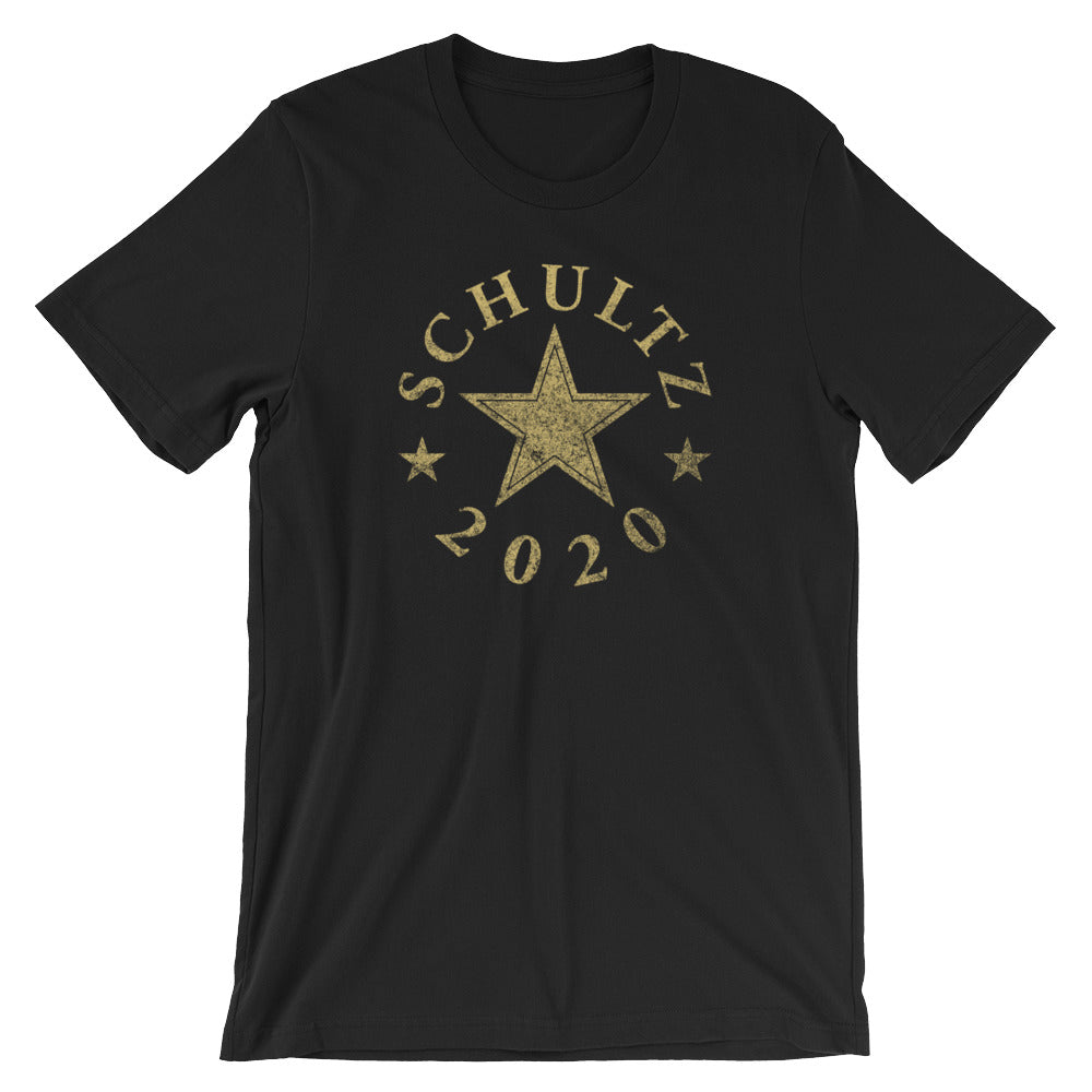 Schultz 2020 Vintage Design in GOLD on a Black, Black Heather, or Dark Grey Heather Tee