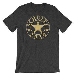 Schultz 2020 Design in GOLD on a Black, Black Heather, or Dark Grey Heather Tee