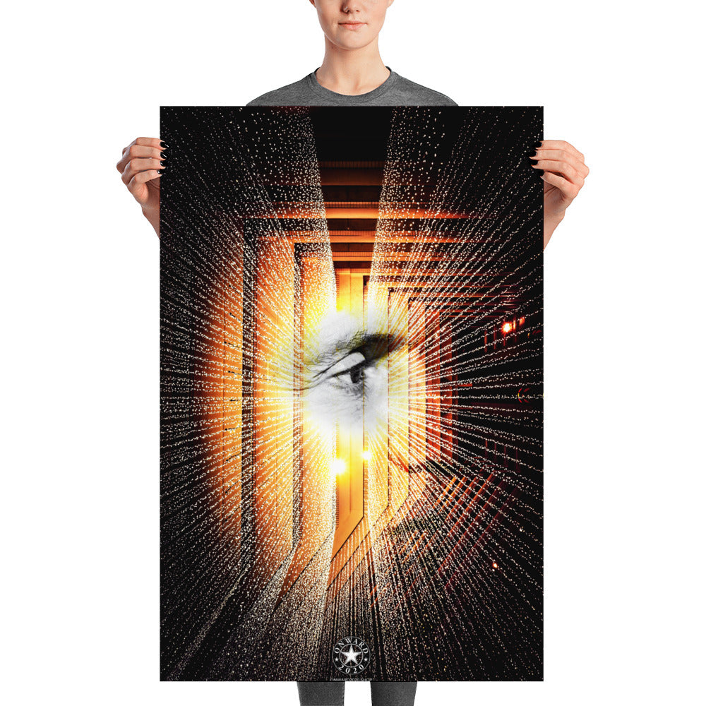 Howard Schultz Future Sight High Quality Poster Print Featuring Howard's Eye amongst a futuristic setting with what appears to be lasers onward 2020 logo at the bottom