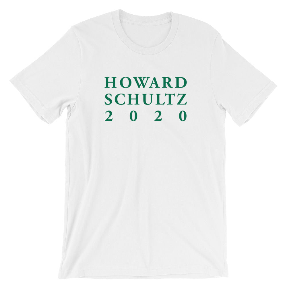 Howard Schultz 2020 Lettering Design in Green on a White T Shirt