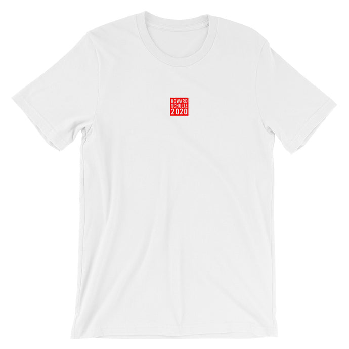 HOWARD SCHULTZ 2020 Red Square Design on White Tshirt