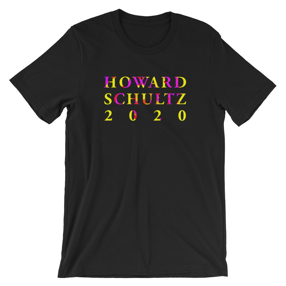 Howard Schultz 2020 Lettering Design in Color on a Black T Shirt
