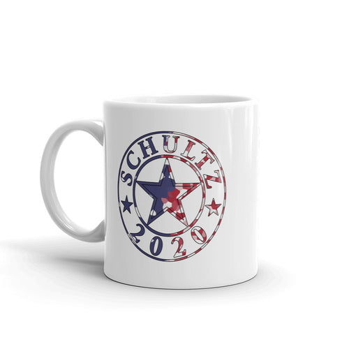 Schultz 2020 Red White and Blue Design on a White Mug