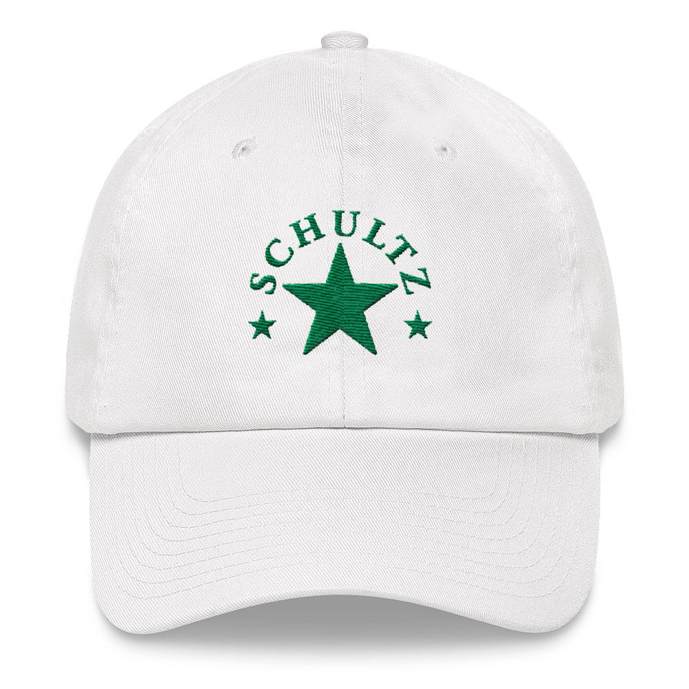 Schultz Green Star Design in Green on a White Dad Hat