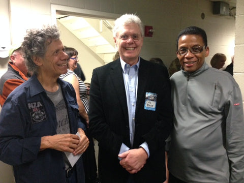 Chick Corea, Larry J Villella, and Herbie Hancock back stage on opening night of their second duet tour.
