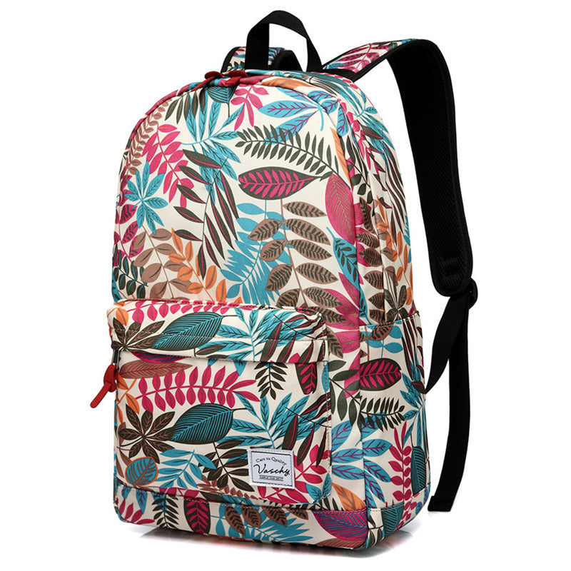 VASCHY Teen Girls Fashion Floral Backpack for Middle School Fits 15inch Laptop Beige Leaves