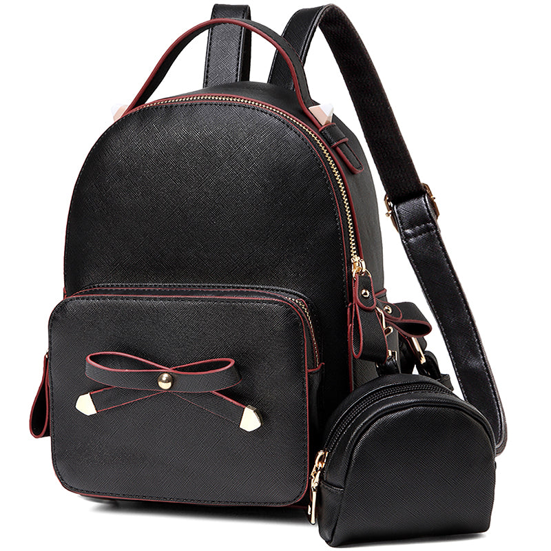 VASCHY Cute Bow-knot Mini Backpack for Teen Girls with Detachable Coin Pouch Black purse