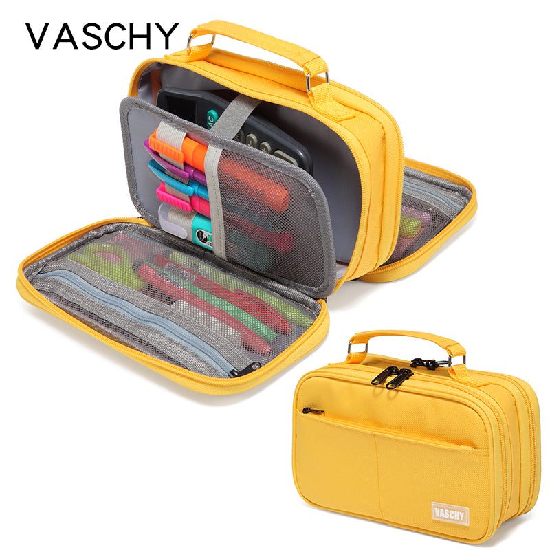 VASCHY Large Pencil Pouch with Compartments for Middle School,Work,Office Pen Organizer Holder School Supply