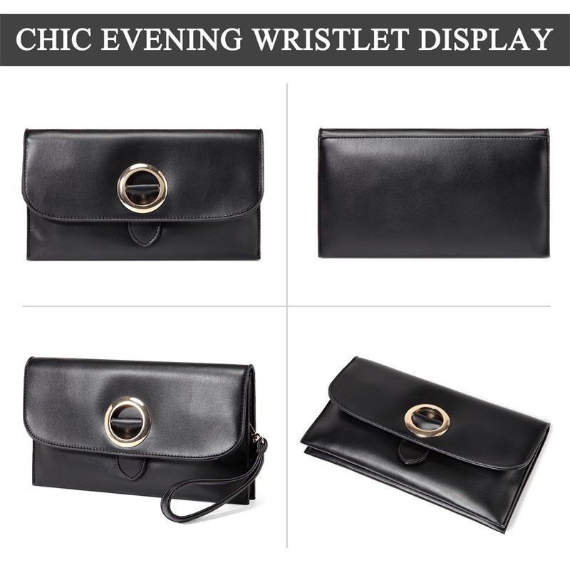 VASCHY PU Leather Envelope Wristlet Clutch Purse for Women With Detachable Shoulder Strap