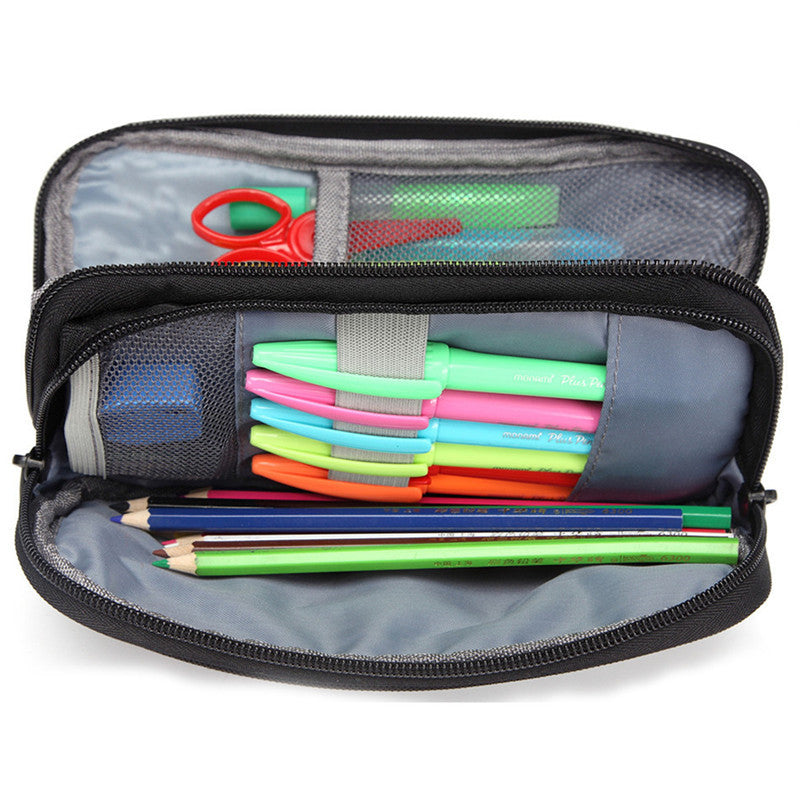 VASCHY Pencil Case Multi Compartments Large Capacity Pen Holder Easy Organized Pouch with Double Zippers and Mesh Pockets