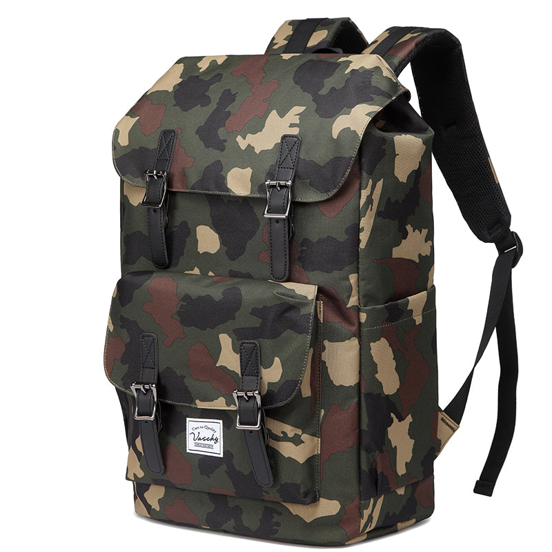 VASCHY Camouflage Vintage Backpack Casual Water-resistant School Backpack Casual Daypack Rucksack with Drawstring for College Fits 15.6inch Laptop