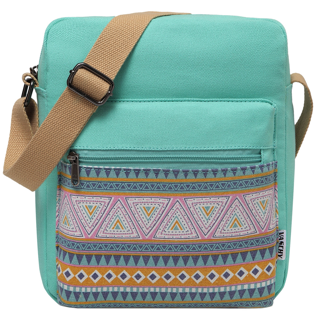 VASCHY Vintage Small Lightweight Canvas Crossbody Bag Messenger Bag  for Girls and Women Fits Water Bottle