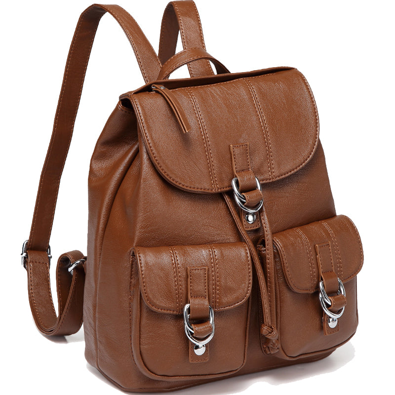 VASCHY Faux Leather Fashion Backpack Purse for Women, Buckle Flap Drawstring Backpack for College with Two Front Pockets