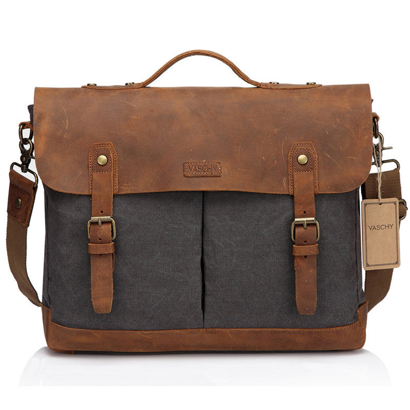 VASCHY Vintage Men Leather Canvas Messenger Bag Satchel Business Briefcase Shoulder Bag Fits 15.6 inch Laptop