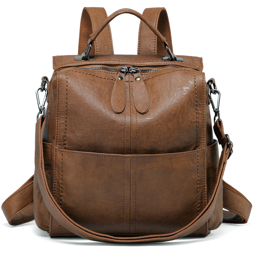 VASCHY Brown PU Leather Backpack