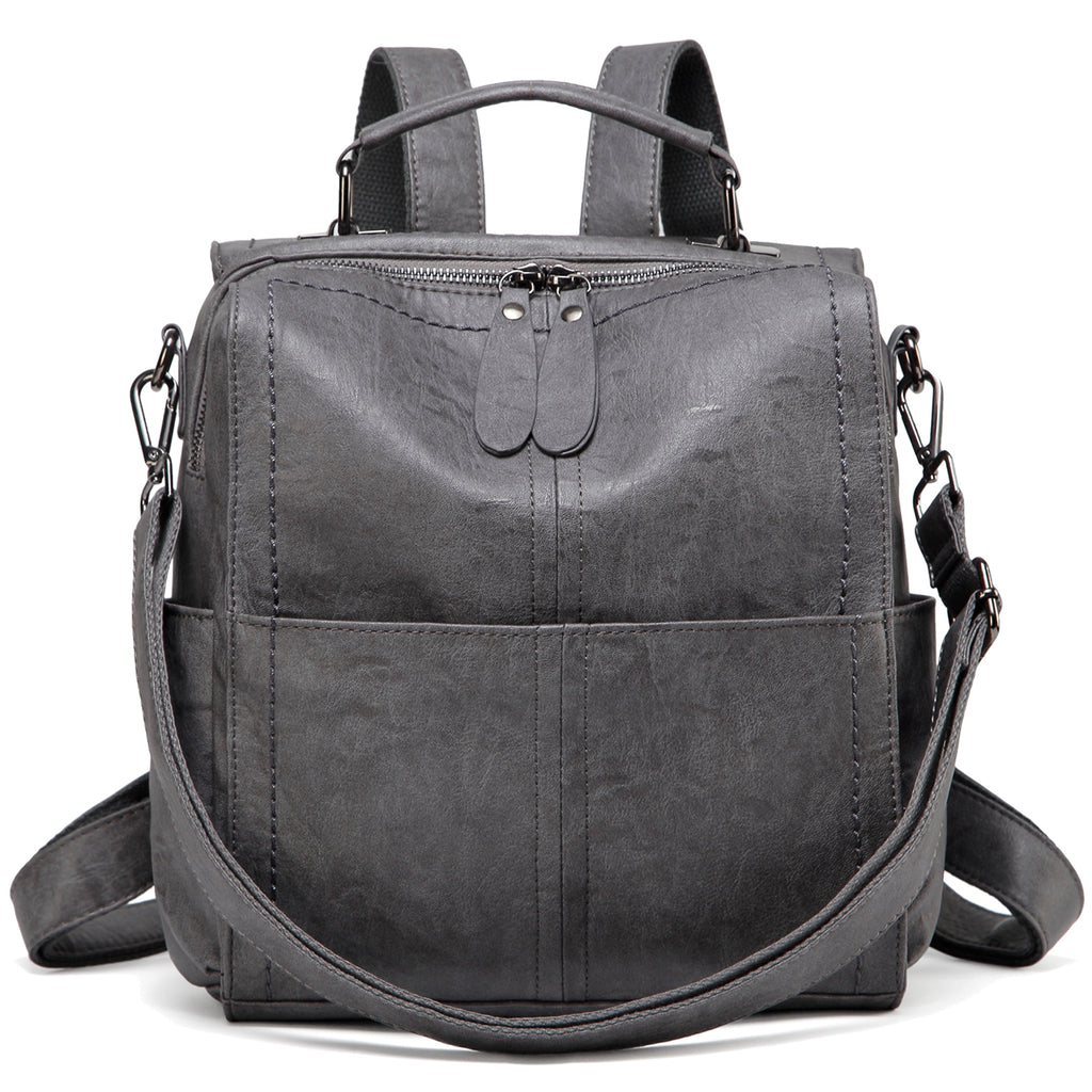 VASCHY Gray PU Leather Backpack