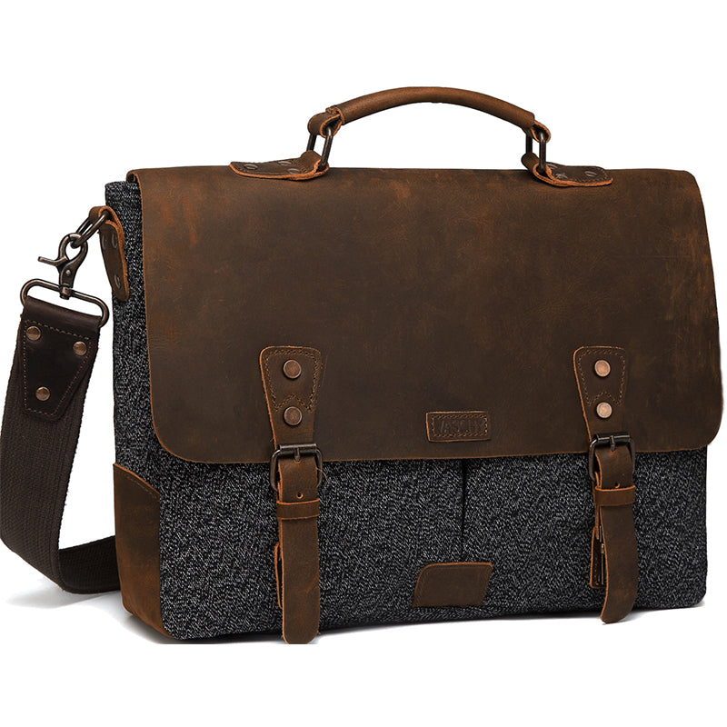 VASCHY Vintage Leather Tweed Canvas Messenger Bag Men Business Briefcase Crossbody Satchel Shoulder Bag Fits 15.6inch Laptop