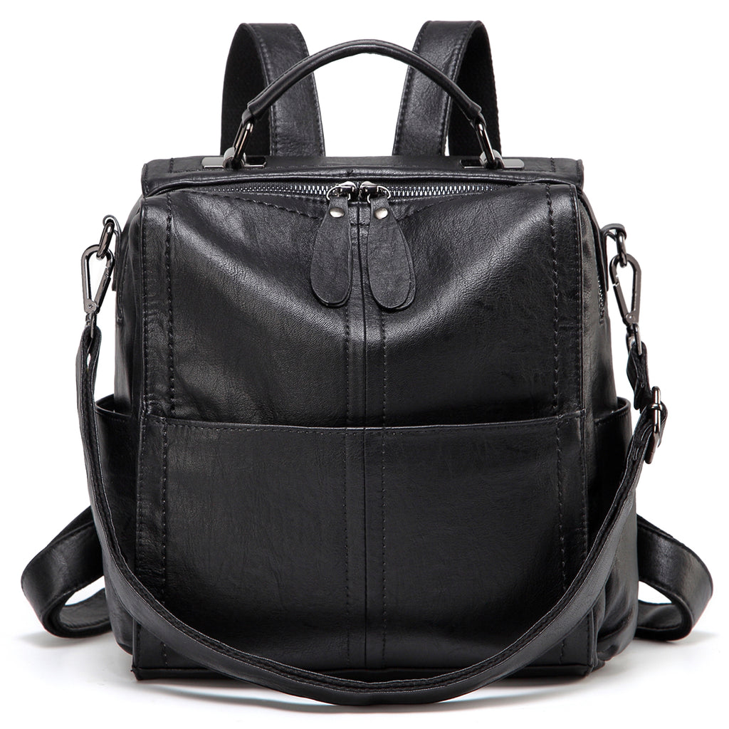 VASCHY PU Leather Backpack for Women