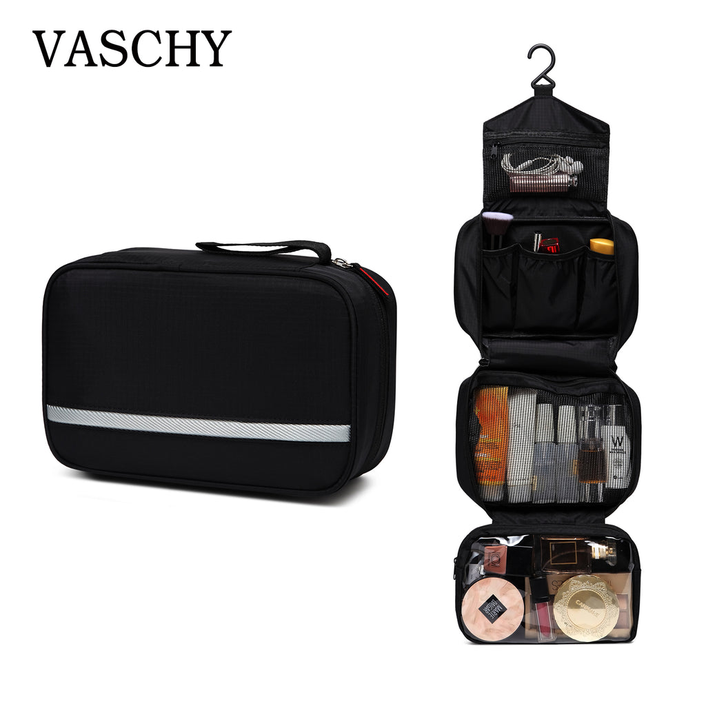 VASCHY Hanging Toiletry Bag Waterproof Travel Toiletry Kit Portable Cosmetic Organizer Pouch Dopp Kit Shaving Bag for Men Women