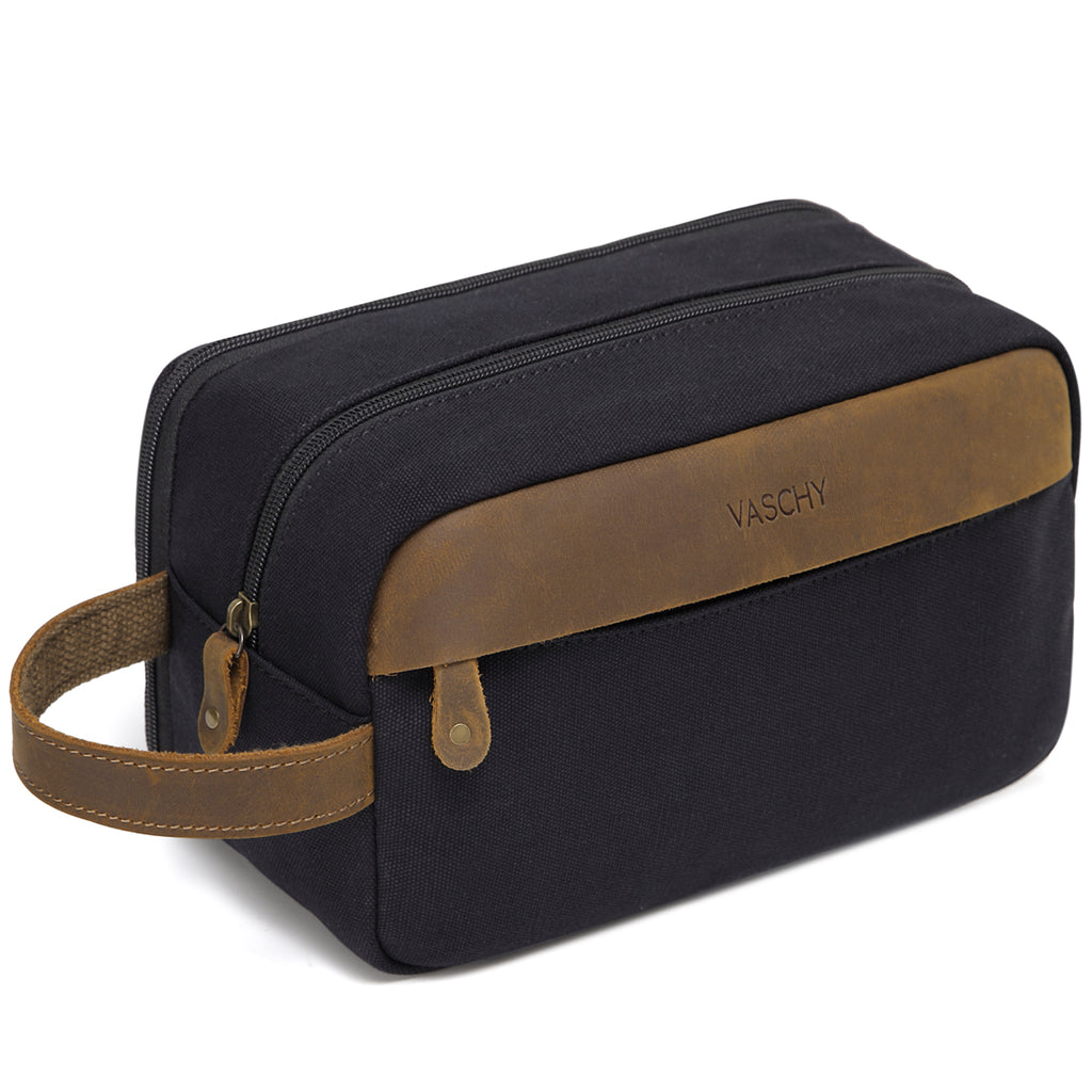 VASCHY Vintage Toiletry Bag Water Resistant Leather Canvas Dual Compartments Travel Kit,Shaving Dopp Kit Portable Travel
