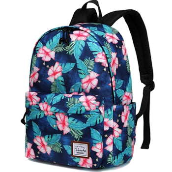 VASCHY Teen Girls Fashion Floral Backpack for Middle School Fits 15inch Laptop Turquoise Floral Blooms