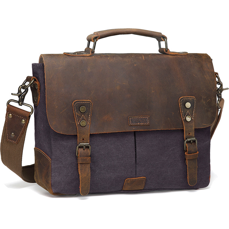 VASCHY Vintage Leather Canvas Men Messenger bag Satchel Crossbody Shoulder Bag Fits 14in Laptop