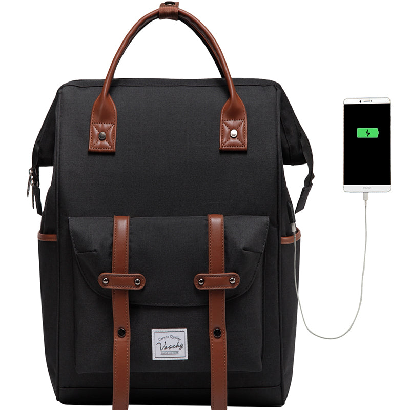 VASCHY Men Backpack Anti Theft 15.6 Inch Laptop Backpack With USB Charger Women Travel Daypacks SchoolBag Teens Leisure Backpack