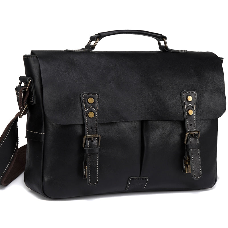 VASCHY Vintage Handmade Full Cowhide Leather Men Messenger Bag Business Black Briefcase Satchel Travel Shoulder Bag Fits 15.6 inch Laptop
