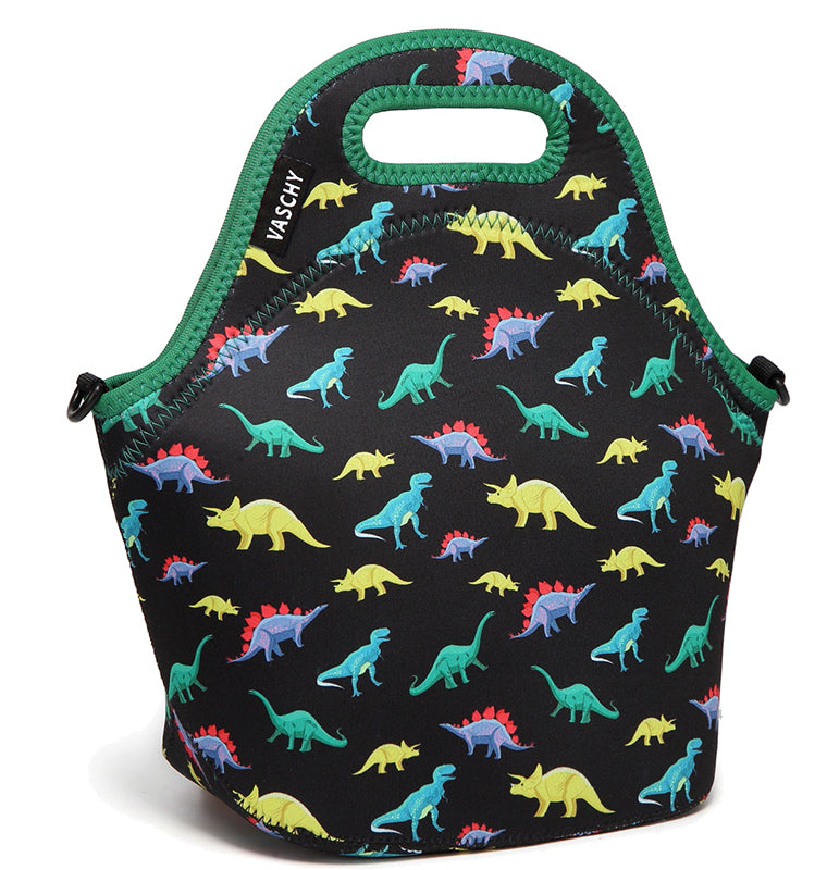 VASCHY Neoprene Insulated Lunch Bag Tote for Men or Women 12.9x13.4x6.3 inch with Detachable Adjustable Shoulder Strap Cute Dinosaur