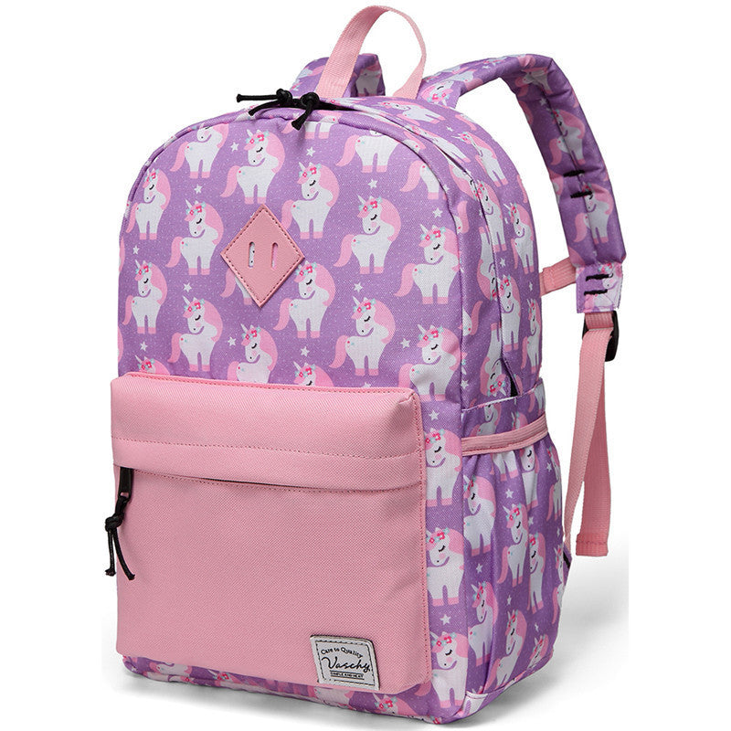 VASCHY Preschool Backpack for Kindergarten Little Boys with Chest Strap Pink Unicorn