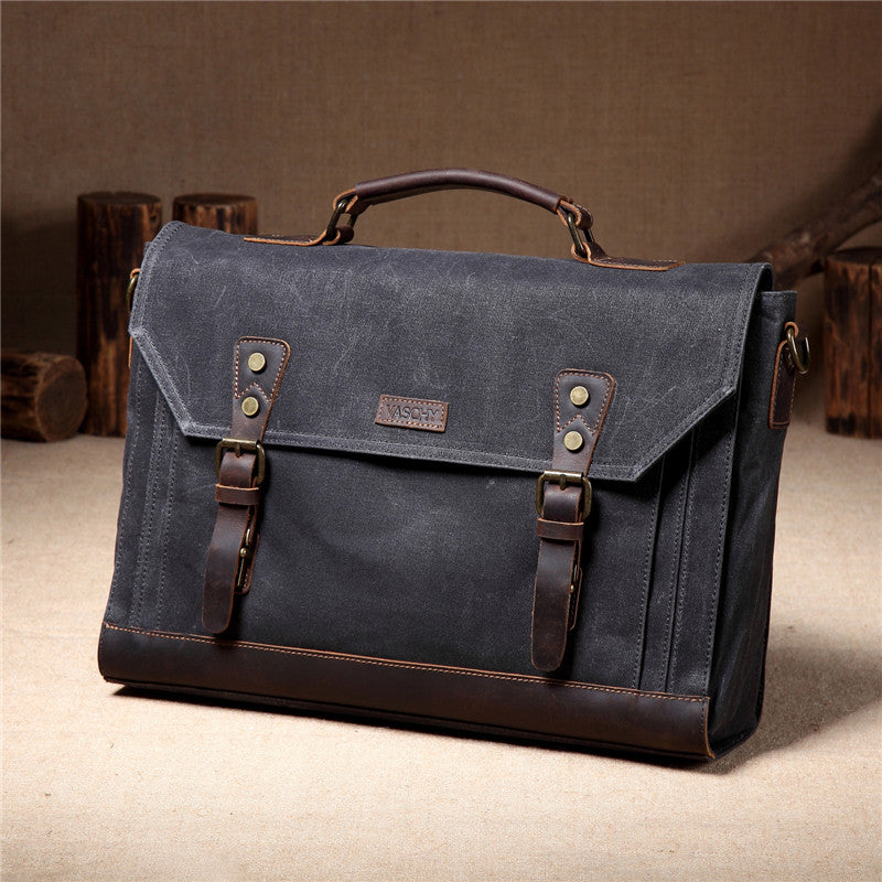 VASCHY Vintage Waxed Canvas Leather Messenger bag for men, Water Resistant Satchel Business Briefcase Shoulder Bag Fits 17 inch Laptop