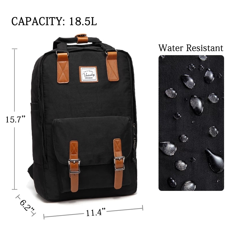 VASCHY Vintage Backpack for Men and Women Casual Water-resistant School Backpack Casual Daypack Rucksack with Drawstring for College Fits 15.6inch Laptop