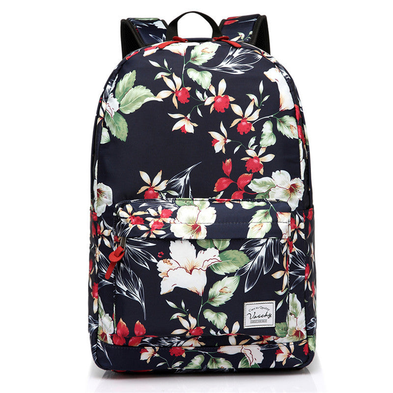 VASCHY Teen Girls Fashion Floral Backpack for Middle School Fits 15inch Laptop Navy Floral Blooms