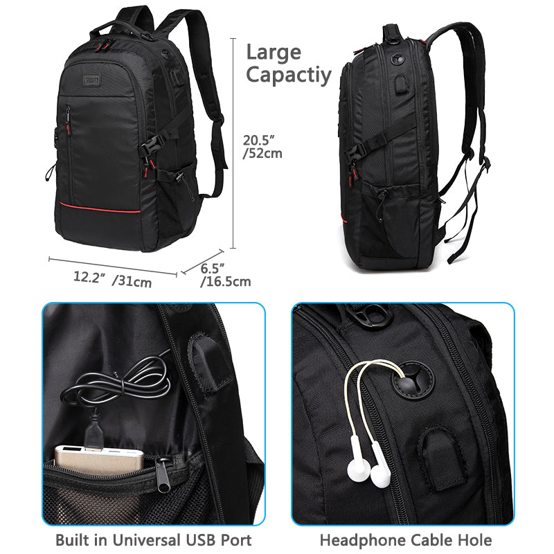 VASCHY 17inch Laptop Backpack, Anti-theft Water Resistant Business Large Travel Rucksack for College School Backpack with USB Charging Port