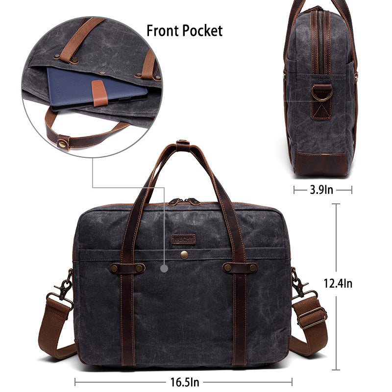 VASCHY Men Business Water Resistant Briefcase Slim Messenger Bag Shoulder Bag fits 15.6 Laptop