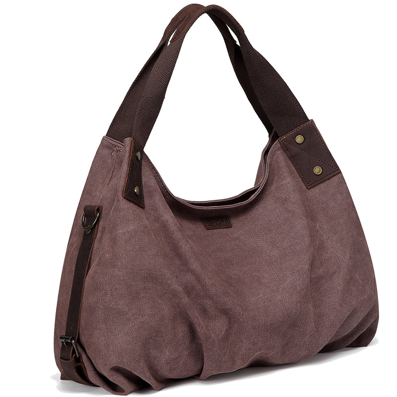VASCHY Large Vintage Leather Canvas Hobo Bag Tote Handbag Work Bag for Women Top Handle with Detachable Shoulder Strap