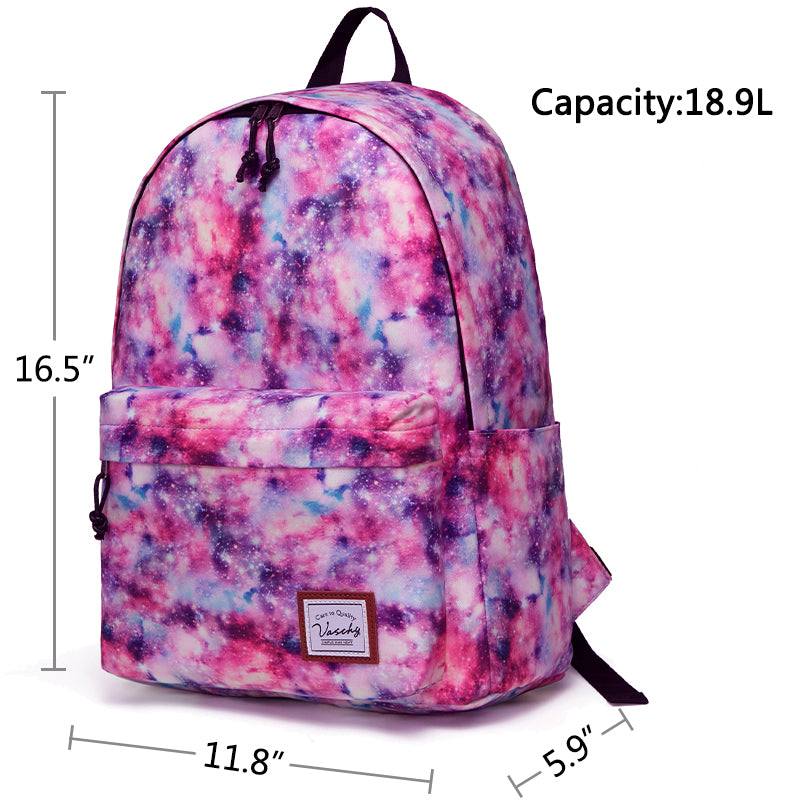 VASCHY Girls Casual School Backpack Cute Lightweight Water-Resistant Daypack Fits 14inch Laptop Pink Galaxy