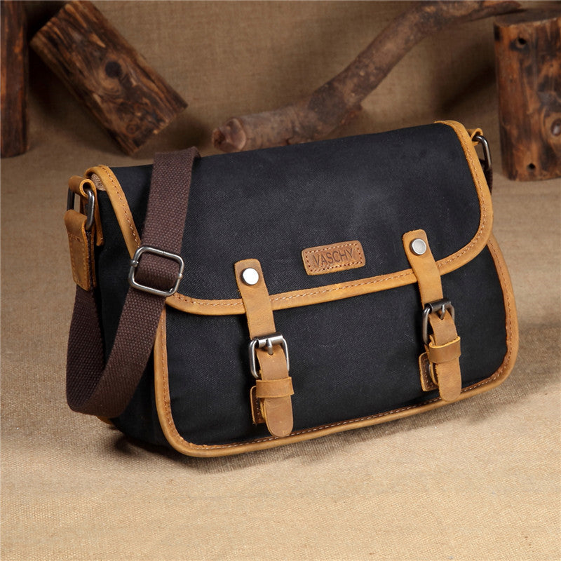 VASCHY Vintage Leather Waxed Canvas Flap Small Crossbody Bag Shoulder Bag for Women