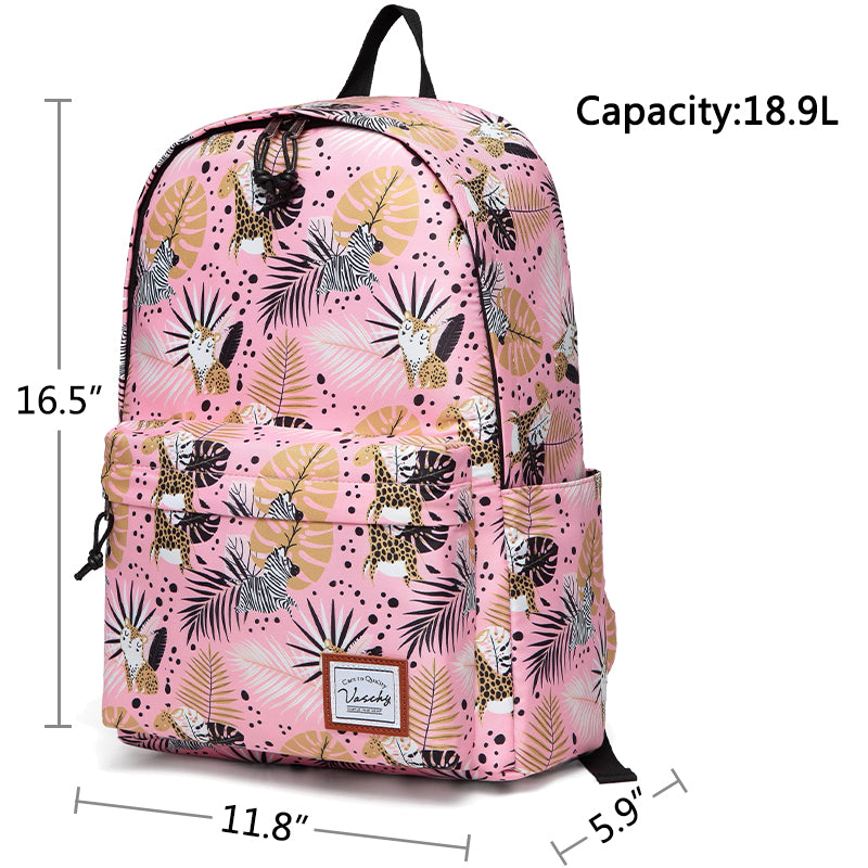 VASCHY Girls Casual School Backpack Cute Lightweight Water-Resistant Daypack Fits 14inch Laptop Pink Animals