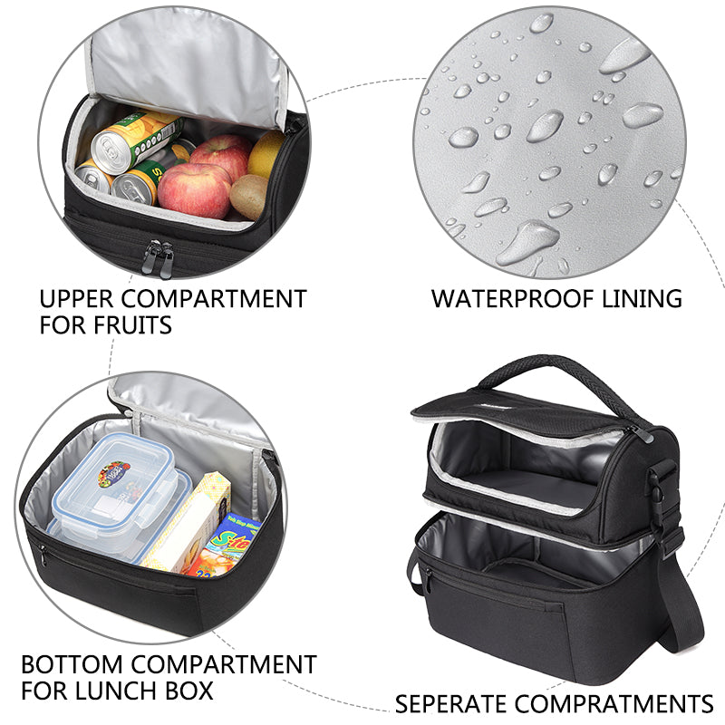 VASCHY Lunch Bag Box Cooler Bag Insulated Leak-proof in Dual Compartment Lunch Tote for Men and Women,14 Cans