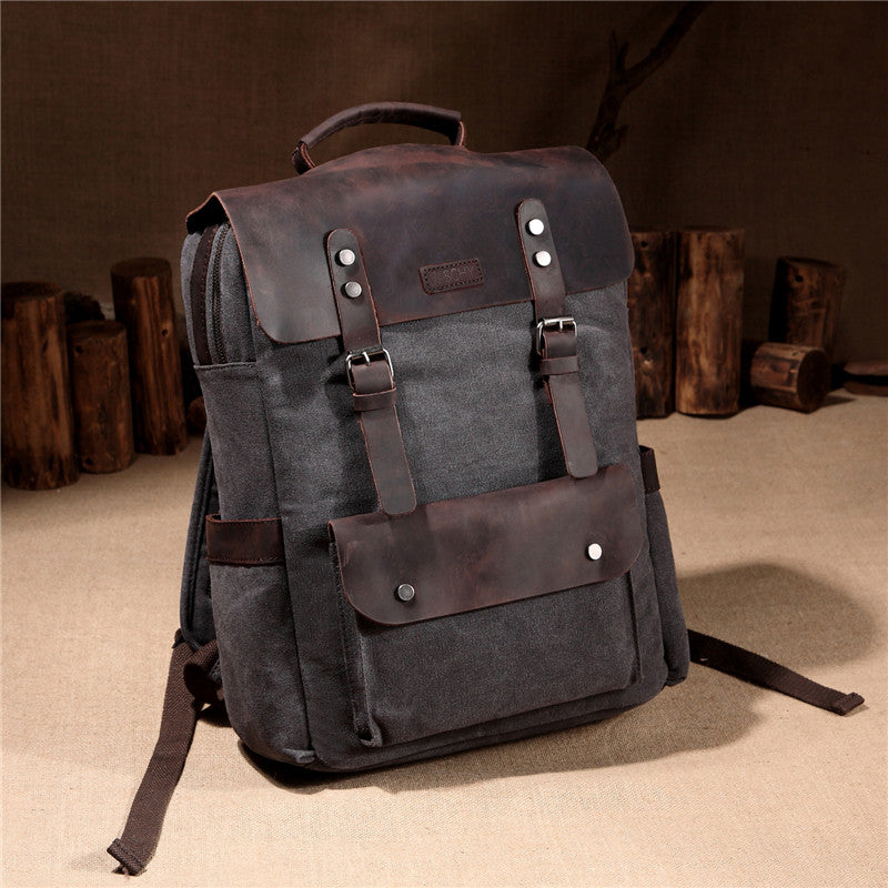 VASCHY Leather Canvas Laptop Backpack for Men and Women, Casual Campus School Rucksack Fits 15.6 inch Laptop