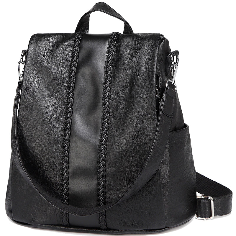 bb27f81aacf VASCHY Faux Leather Fashion Backpack Purse for Women, Convertible Anti
