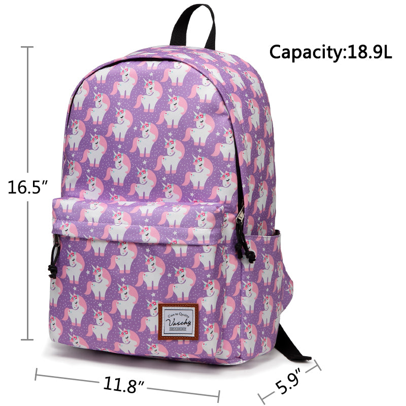 VASCHY Girls Casual School Backpack Cute Lightweight Water-Resistant Daypack Fits 14inch Laptop Pink Unicorn